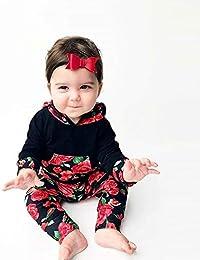 ☀☀Sombreros Y Gorras para Bebés Niño,Recién Nacido bebé niño niña Floral Tops con Capucha Pantalones Trajes 2pcs Conjunto de Ropa