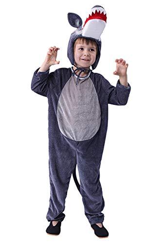 RedJade Kinder Jungen Halloween Fairy Tale Märchen Jumpsuit Hut Cosplay Kostüm Wolf Tier Blau L