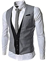 (GVE) TheLees Slim Fit Chain Point 4 Button Vest Waist Coat