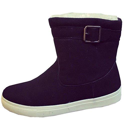 TAOFFEN Damen Mode Flache Winter Warn Stiefel Fur boots Schnee Stiefel Schwarz-1