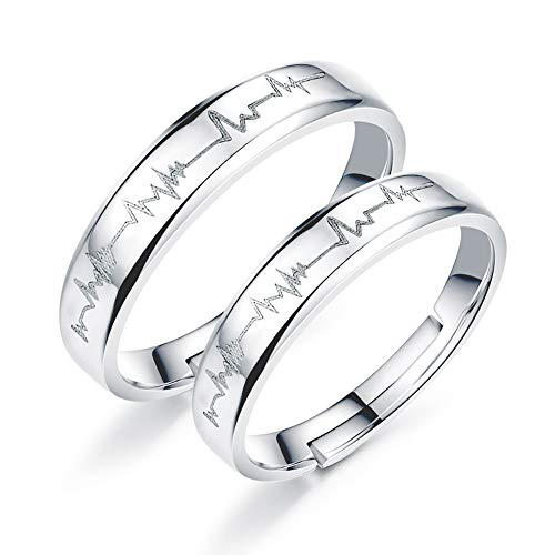 EQLEF Heartbeat Ring, 1 Game Electrocardiogram Promise Rings Open Couples Adjustable Ring for Wedding Engagement Rings Engagement Rings