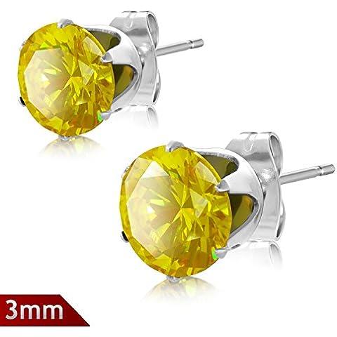3 millimetri in acciaio inox Prong Set Cerchio Giallo CZ Coppia di orecchini in Sacchetto del regalo