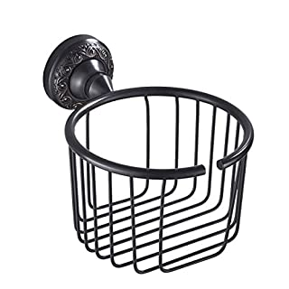 Slnglik Toilettenpapierhalter Badezimmer Küchenpapier Handtuchhalter Rostfrei Messing Wandbehang Schwarz Vintage Geschnitzten Toilettenpapierhalter Bohren Installation