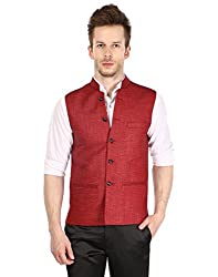 Platinum Studio Mens Nehru Jacket ( NJ-797-MRN-40_Maroon)