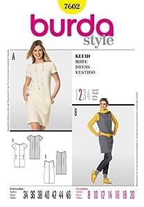 Burda Pour femme Patron de couture 7602 Robes simples Tailles 36-48