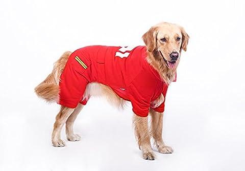 Quatre pantalons vêtements, vêtements d'automne et d'hiver, chien vêtements chauds animaux(Rouge 6XL)