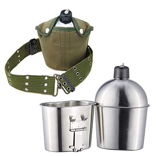 Pinty Bottiglia d'acqua Militare Borracce in Acciaio Inox con Tazza Borsa e Cintura Borraccia da Trekking Leggero per il Campeggio con Maniglia Pieghevole