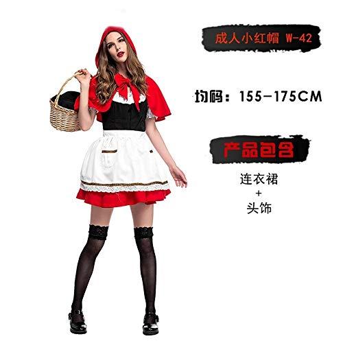 Xiaoludian Halloween Kostüm Erwachsene Hexe Cosplay Show Fledermaus Rotkäppchen Piraten Vampir Prinzessin Kleid Weiblich (Design : Adult Little Red Riding Hood W-42) (Vampir Red Riding Hood Kostüm)