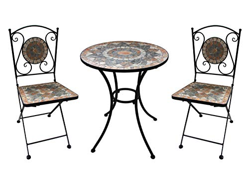 K&L Wall Art Gartenmöbel-Set 2 Stühle und Tisch mit schönem Stein-Mosaik Muster, robust, Innen- und Außen, Winterfest