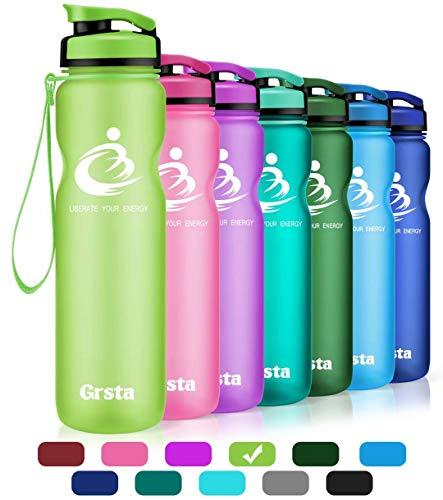 Grsta Sport Trinkflasche 32oz-1000ml - Wasserflasche Auslaufsicher, Eco Friendly BPA Frei Tritan Kunststoff Flaschen mit Frucht Filter, Sporttrinkflasche für Kinder, Gym, Yoga, Laufen, Camping (Grün) (Die Größe Der Familie Grüner Tee)