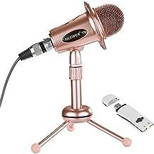 Neewer micrófono de condensador de Ordenador(Windows,Mac) para la grabación, Podcasting, chat online como Facebook, MSN, Skype, y Cable de Audio, soporte de sobremesa USB 2.0 adaptador de tarjeta de sonido externo (oro)