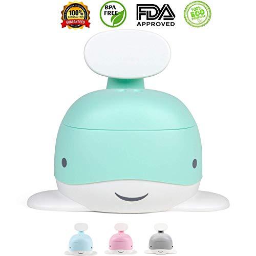 YAKEEN WC enfant toilette enfant pour bebe pot pour bébé apprentissage propreté forme de baleine pour fille et garçon idée cadeau couleurs pastel Vert