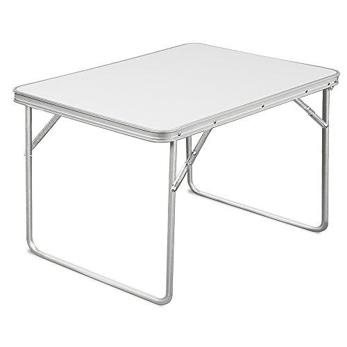 Relaxdays Alu Campingtisch Klapptisch Beistelltisch Falttisch Koffertisch - leicht und faltbar mit praktischem Tragegriff für unterwegs