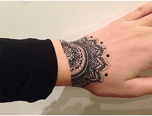 Tatuajes temporales con rosetón de mandalas y flores de loto, para hombre y mujer, tatuaje temporal, para brazos, piernas, pantorrillas, brazos, cuello, 21 x 15 cm