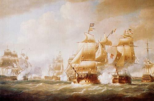 Toperfect 50€-2000€ Handgefertigte Ölgemälde - Duckworth s Aktion aus San Domingo 6. Februar 1806 Naval Battle Gemälde auf Leinwand Kriegsschiff WSP1 Kunst Werk Ölmalerei - Malerei Maße06