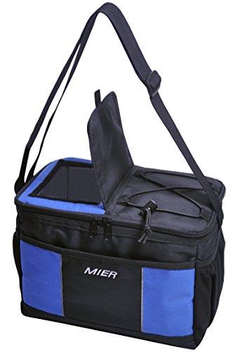 Mier 16 can soft lunch bag borsa termica isolata per uomini donne e ragazzi, con coperchio ad accesso rapido, nero