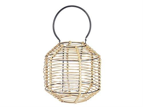 Lanterne bambou 30 cm avec insert en verre et poignée