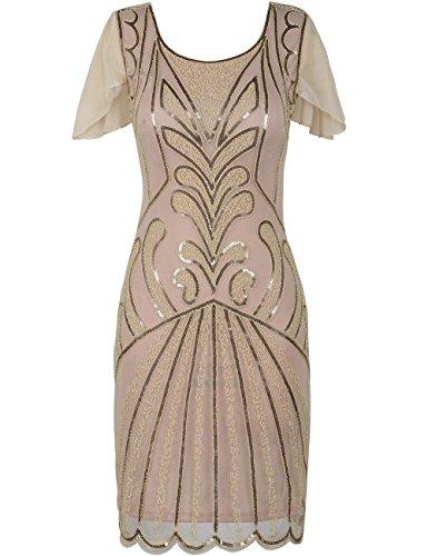 e Flapper Kleider mit Ärmeln Pailletten Art Deco Cocktail Gatsby Kleid 46-48 Champagner (Plus Size Flapper Kostüme)