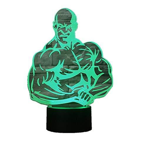 WangZJ 3d Nachtlicht Touch Tisch Schreibtischlampe / 7 Farbwechsel Optische Täuschung Lichter/Acryl Flach/abs Basis/Bodybuilding (Schlümpfe Schmuck)