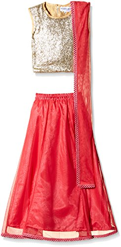 Atayant Girl Lehenga Choli (ATAYK_010_2:3YR_Gold:Light Pink_S)