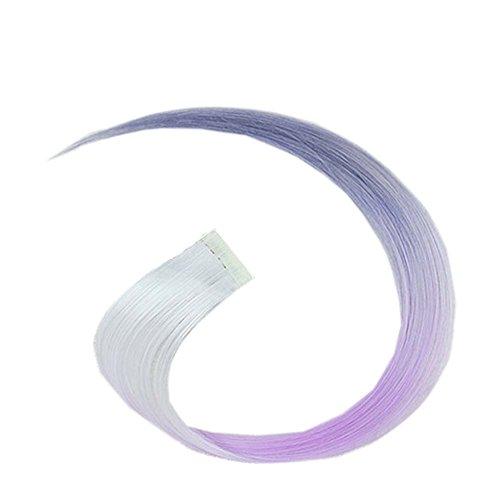 2 morceaux de Mode cheveux invisibles pièce extension perruque, violet et blanc