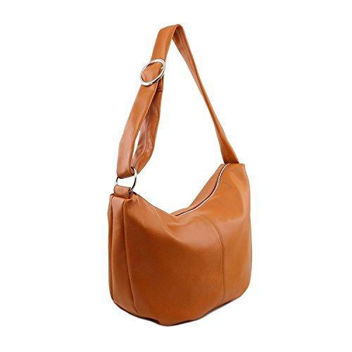 Tuscany Leather - Yvette - Beuteltasche aus Kalbsleder - TL140900 (Beige) Dunkelbraun