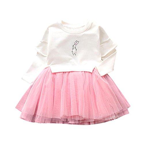 Mini Print Tunika (Netzgarn Kleid Kleinkind Kinder, DoraMe Baby Mädchen Lange ärmel Prinzessin Kleid Cartoon Print Party Kleid O-Ausschnitt Patchwork Mini Kleid (Weiß, 18 Monate))