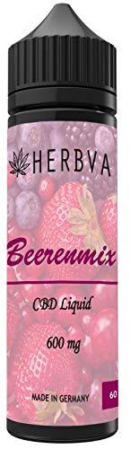 HERBVA® CBD • Beerenmix • e-Liquid • Shake-and-Vape für Ihre e-Zigarette, 0,0 mg Nikotin • 60 ml PG VG nikotinfrei (600mg)