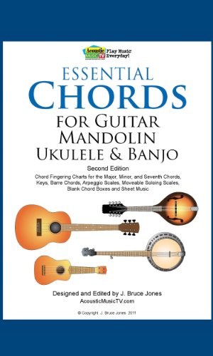 Essential Chords for Guitar, Mandolin, Ukulele and Banjo: 2nd Ed. Chord Fingering Charts for Major, Minor and Seventh Chords, Keys, Barre Chords, Arpeggio ... Moveable Soloing Scales (English Edition)