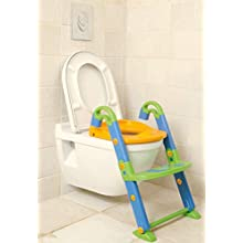 Rotho Babydesign KidsKit 3-in-1 toilet trainer, from 18-36 months, 41.5 x 25 x 67 cm (LxWxH), green / blue / orange, 600060099