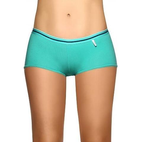 Laura Women's Boyshort Underwear Cotton Lycra Exposed Waistband 000211VE (S)