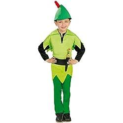 Guirca - Disfraz de arquero Robin, para niños de 5-6 años, color verde (82741)