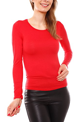Fragola Moda Fragolamoda Damen Basic Langarm Shirt Rundhals Rot