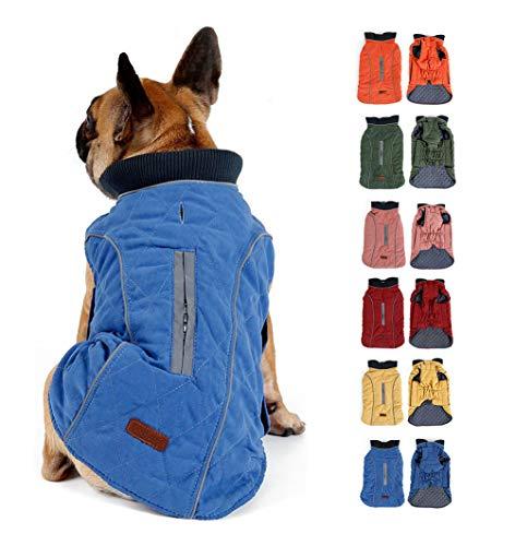 Komate Hund Winterjacken Mäntel Hundewarmweste mit Reflexstreifen Geschirr Leine Loch Outfit Kleidung für kleine, mittelgroße Hunde Haustier (S (Brustumfang: 40-52 cm), Blau)
