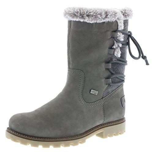 Remonte Damen Winterstiefel D7482,Frauen Winter-Boots,Fellboots,Lammfellstiefel,Fellstiefel,gefüttert,warm,Blockabsatz 3.2cm,Einlegesohle,gris/grau/fumo / 45, EU 39