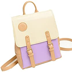F-Dorla New Vintage Casual Women's Backpack School Bag Fashion Travel School Pu Leather Handbag Ipad Bag, More Colors Avaliable (Purple-X)