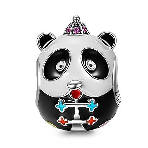 NinaQueen Kung Fu Panda Perle attraits Charm pour femme argent 925 compatible avec pandora charms bracelets bijoux Cadeau Saint Valentin Fete des Meres Anniversaire Cadeaux Noel Maman Mere Fille