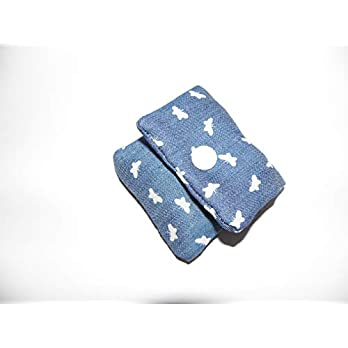 Blaues Tampontasche, Minitäschchen mit Schmetterling – handmade