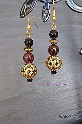 Boucles d'oreille métal doré grenat et onyx véritables Réf BOO007