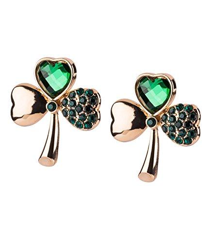 SIX Damen Ohrring, Ohrstecker, Ohrschmuck, Kleeblatt, Strasssteine, St. Patricks Day, Irland, grün gold (761-042)