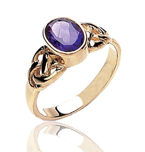 Hochzeitsring 9 Karat Gold Amethyst keltisches Knoten-Ring.