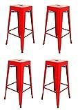 La Chaise Espagnole - Lot de 4 Tabourets de style Tolix, Rouge, 76x43x43