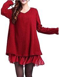 ZANZEA Donna Pizzo Maglione Maglia Maniche Lunghe Vestito Corto Elegante Casual Moda Pullover Vestiti Donna Invernali Vestiti Donna Invernali
