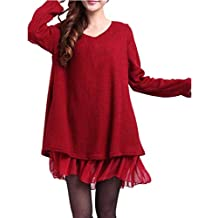 ZANZEA Mujer Vestido Elegante Algodón Corto Casual Gasa Lazo Cuello Redondo Mangas Largas