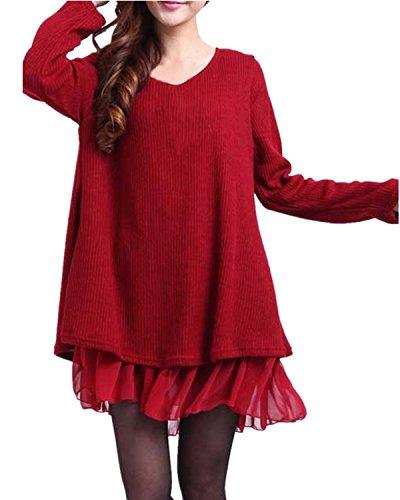 ZANZEA Mujer Jersey Suéter Largo Vestido Corto Invierno Elegante Algodón Gasa Lazos Mangas Largas Burdeos US 22W