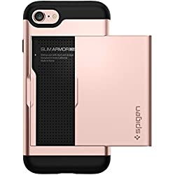 Spigen Coque iPhone 7, [Slim Armor CS] Slim Fit Double Couche de Protection [Or Rose] avec Fente pour Carte Porte-Monnaie (iPhone7) - 042CS20454