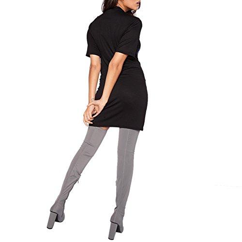 ROPALIA Femmes Mini Robe de T-Shirt Imprimé Manches Courtes 03 Noir