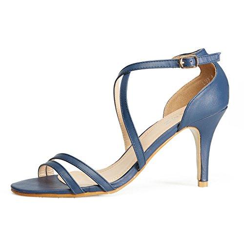 GLAMZ , Sandales pour femme femme Bleu Marine