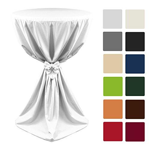 Beautissu Stehtisch-Husse Giulia Microfaser in Weiß Ø 60x145cm mit elegantem Satinband - viele Größen & Farben