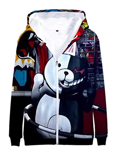Cosstars Anime Danganronpa Monokuma 3D Impresión Hoodie Jacket Chaqueta Cosplay Disfraz Zip Sweat Sudadera con Capucha Outwear Abrigo 10 XXXL